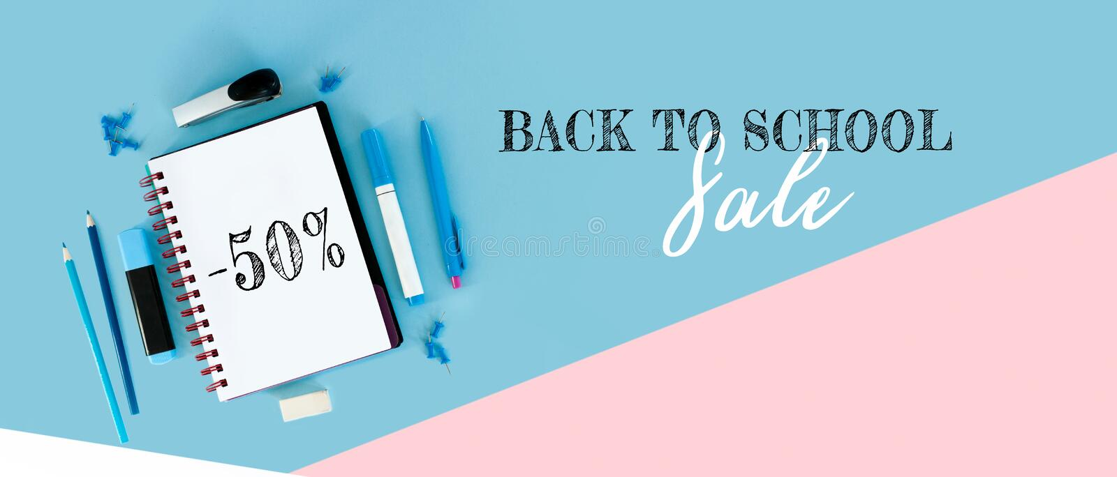 Design template for Back to school. Office school supplies. Creative Idea of education for banners. Sale posters. royalty free stock photos