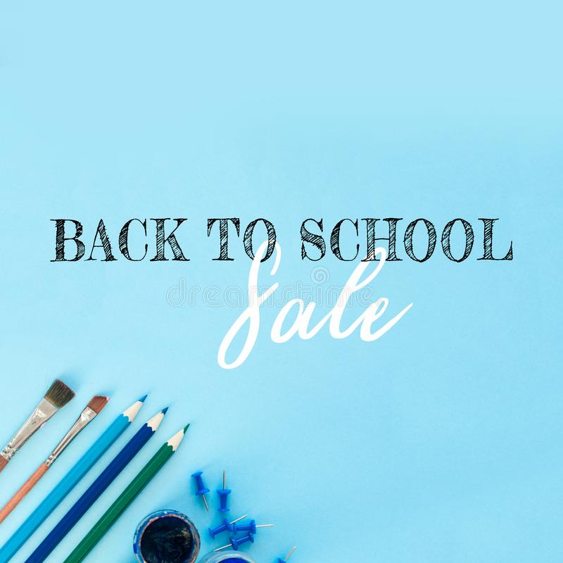 Design template for Back to school. Office school supplies. Creative Idea of education for banners. Sale posters. stock photos