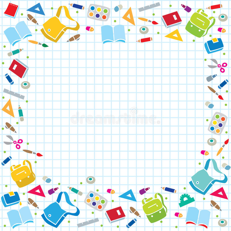 Design Template Background With Education Supplies Stock ...