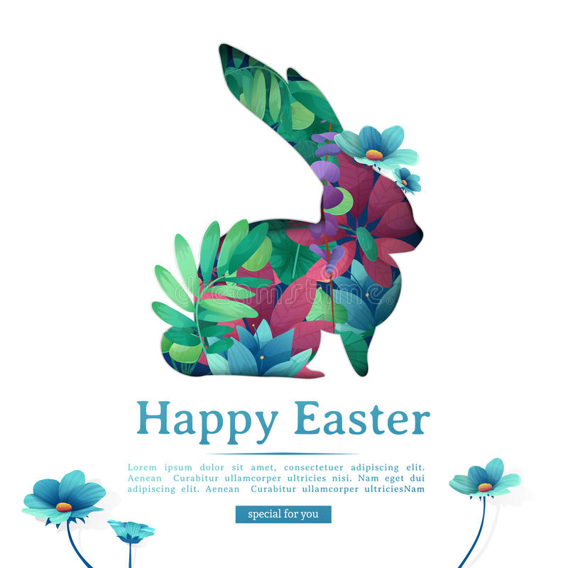Design template banner for Happy Easter. Silhouettes of rabbit with floral, herb, plant decoration. Square card royalty free illustration
