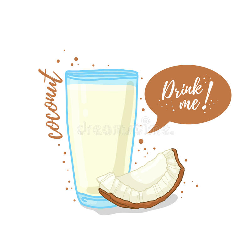 Design Template banner, poster, icons coconut smoothies. Illustration of coconut juice Drink me. Coconut milk in glass. Cup. Vector illustration vector illustration