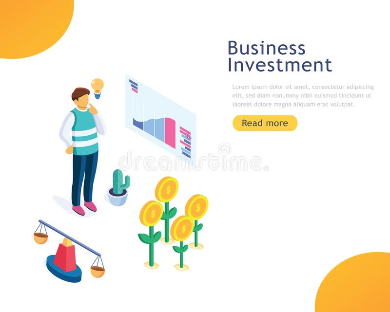 Design template business investment, consulting, marketing, support concept. People standing on mountain peak with winner flag. vector illustration