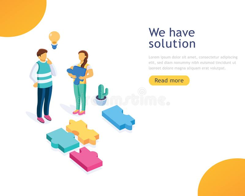 Design template business solutions, consulting, marketing, support concept. People standing on mountain peak with winner flag. stock illustration
