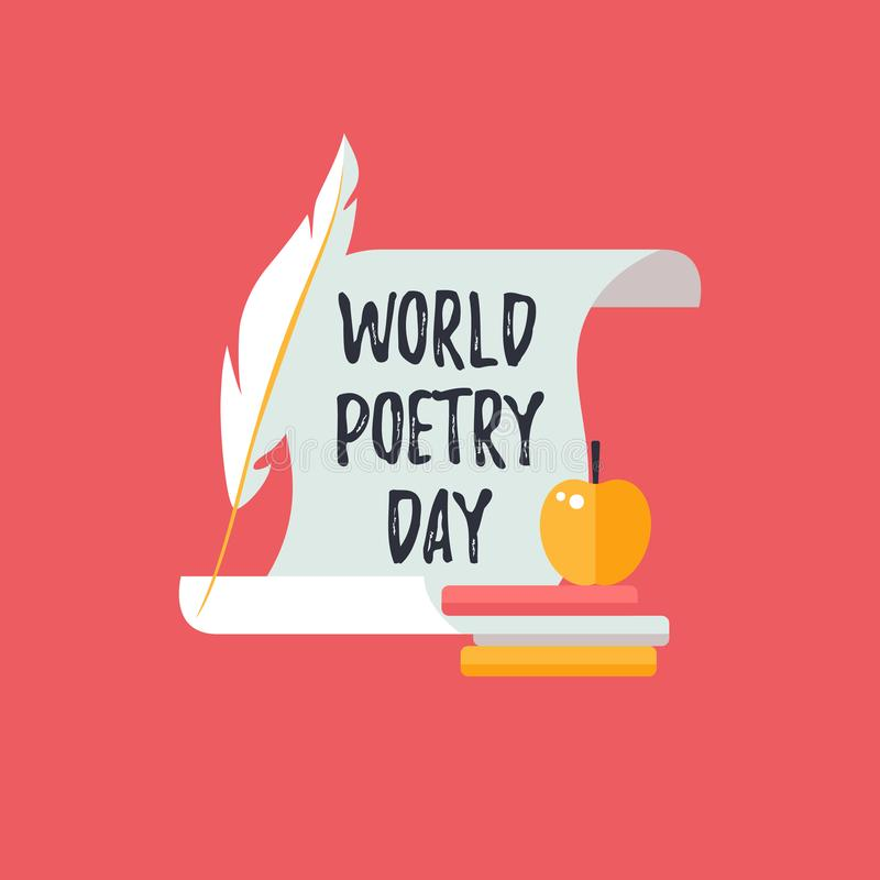 Design template card for World Poetry Day. Icons of  scroll, quill pen and books. Design template card for World Poetry Day. Icons of  scroll, quill pen and stock illustration