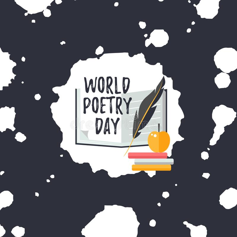 Design template card for World Poetry Day. Quill pen, apple and books. Design template card for World Poetry Day. Simple text with quill pen, apple and books stock illustration