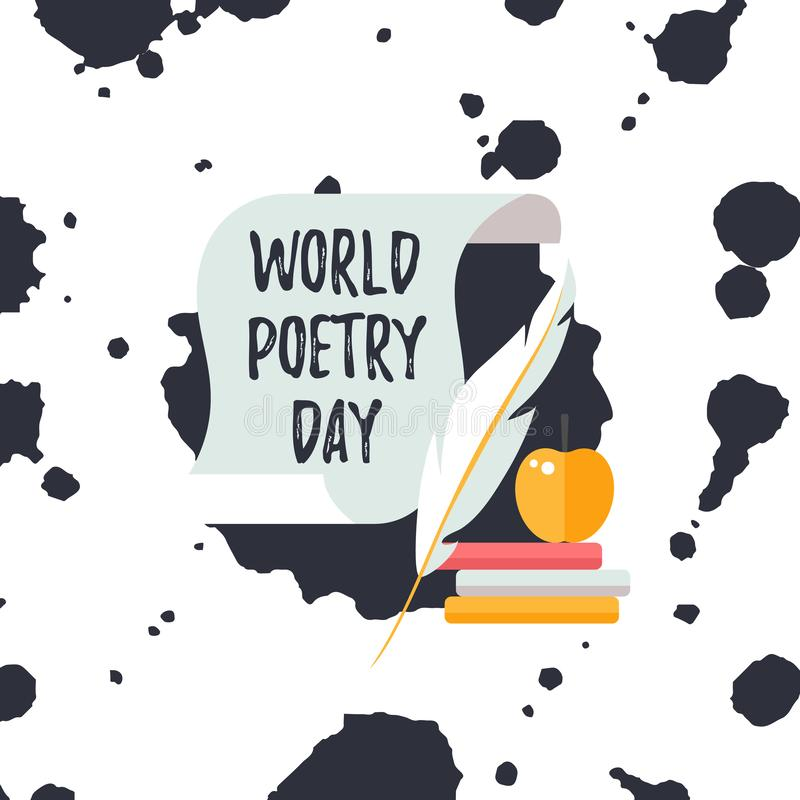 Design template card for World Poetry Day. Text on scroll with quill pen and books. Design template card for World Poetry Day. Simple text on scroll with quill vector illustration