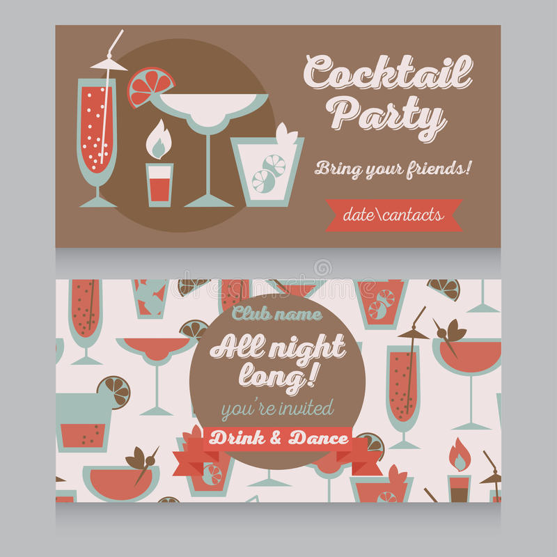 Design template for cocktail party in retro style vector illustration