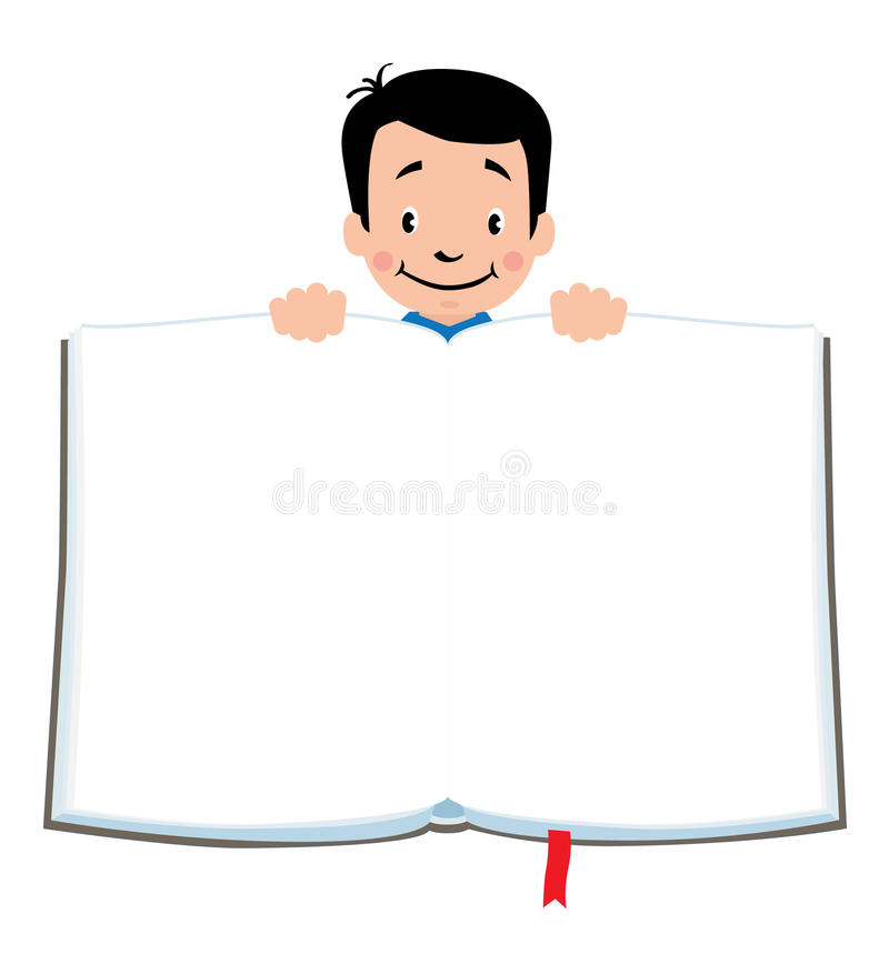Design Template With Funny Boy And Book Stock Vector - Illustration ...