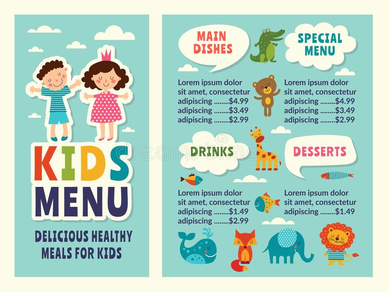 Design template of kids menu with colored funny pictures and place for your text vector illustration