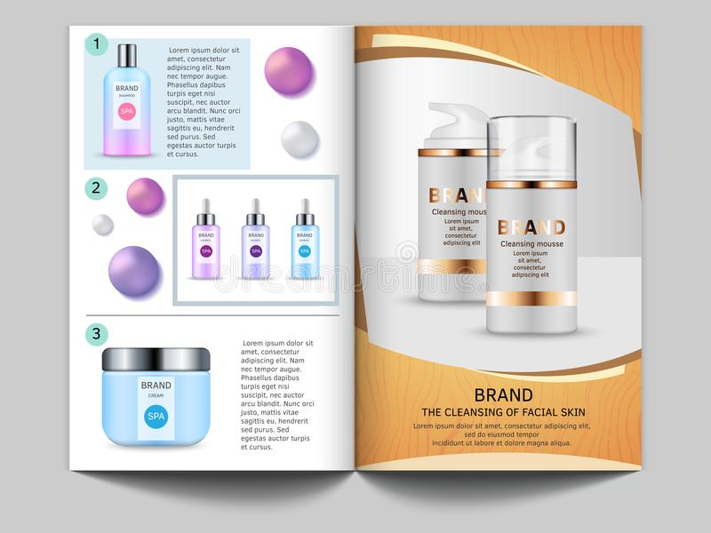 Design template of magazine. Vector pictures of cosmetics bottles and place for your text royalty free illustration