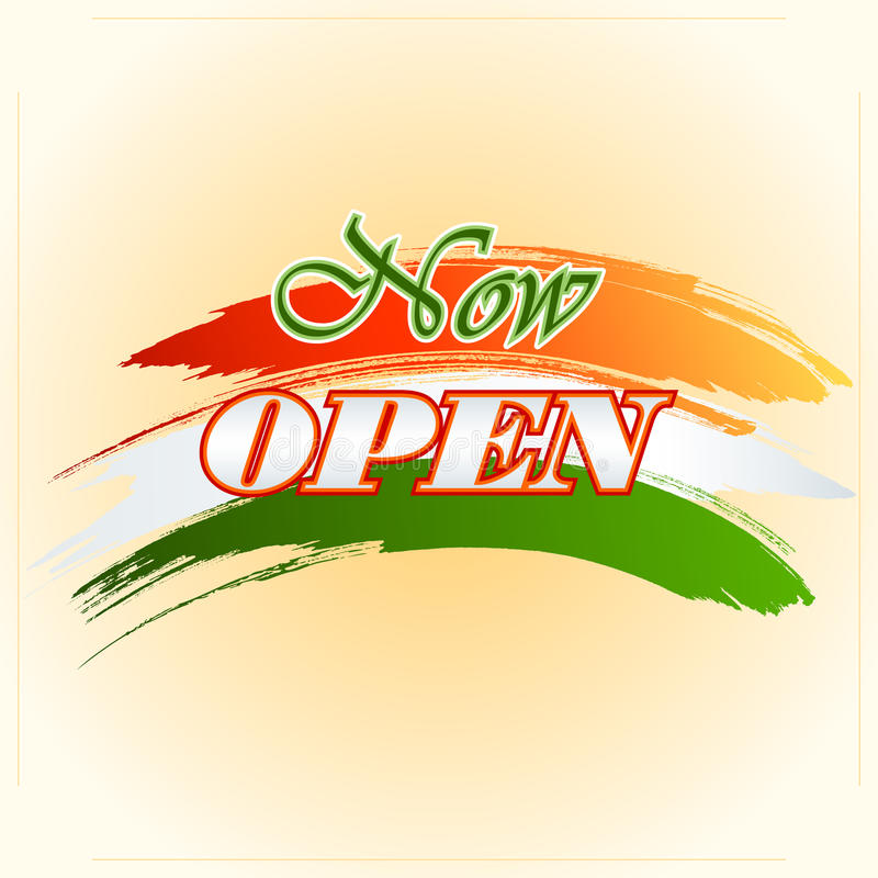Design template for Now Open sign on colorful, brush stroke royalty free illustration