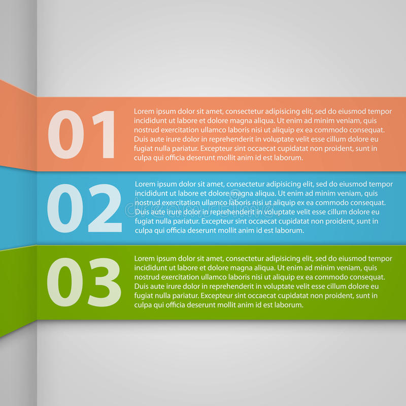 Design template numbered banners. Vector illustrat royalty free illustration