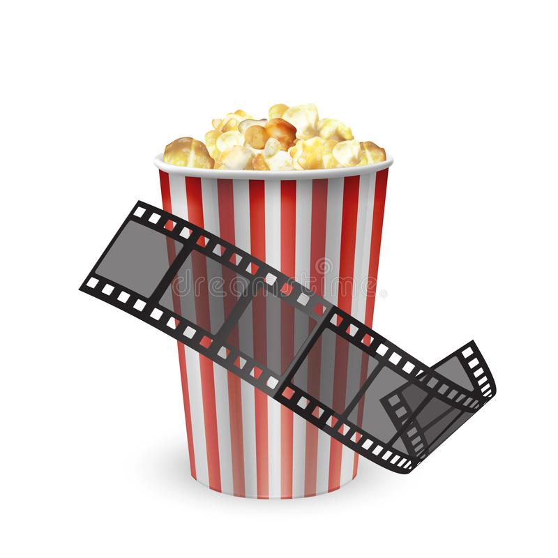 The design template with popcorn and film reel, film tape, Realistic vector illustration vector illustration