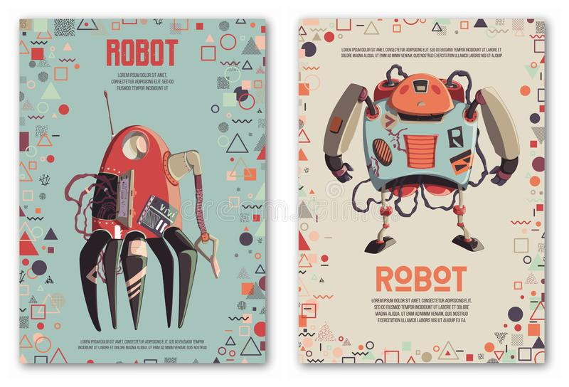 Design template with robots characters and geometric shapes. Technology, future. Artificial intelligence concept. royalty free stock images