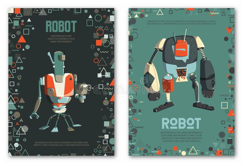 Design template with robots characters and geometric shapes. Technology, future. Artificial intelligence concept. stock image