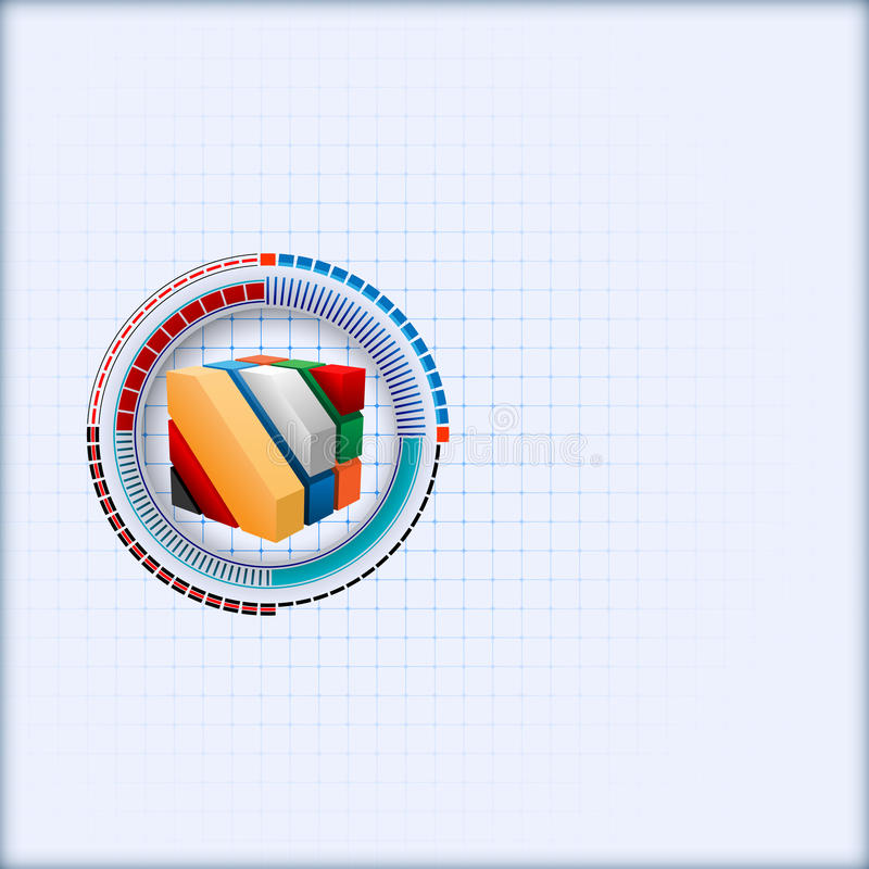 Design template with three dimensions cubes artistic designed inside of graduated futuristic device stock illustration