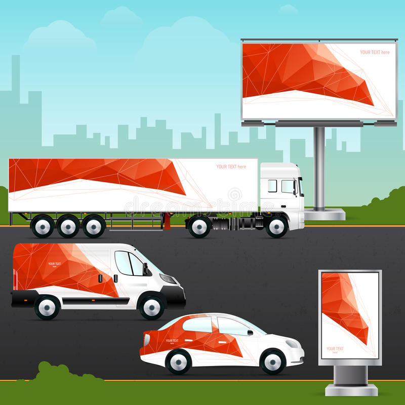 Design template vehicle, outdoor advertising or corporate identity. royalty free illustration
