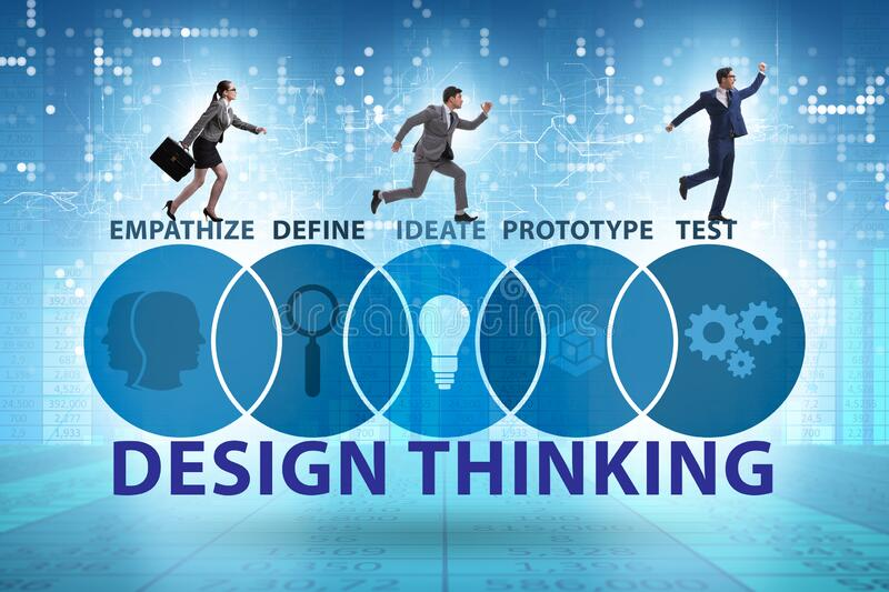 Design thinking concept in software development royalty free stock image
