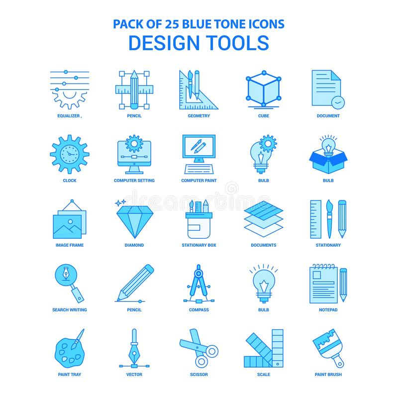 Free Design Tools Blue Tone Icon Pack - 25 Icon Sets Stock Image - 131127521