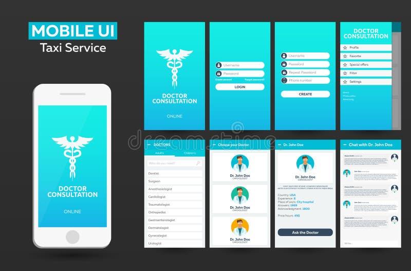 Design UI, UX, GUI för konsultation för mobilapp-doktor online-materiell Svars- website royaltyfri illustrationer