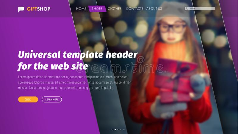 Design of ultraviolet header for a web site with a place for photos. Universal template with diagonal lines, title and buttons. Vector illustration stock illustration