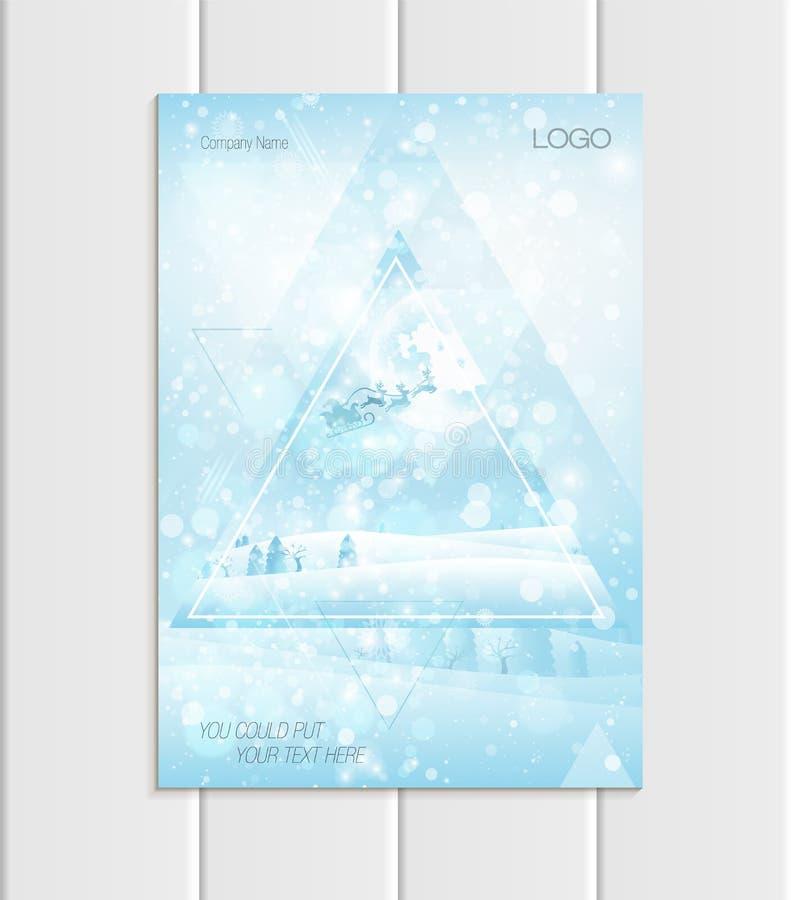 Design-Unternehmensart Santa Claus Christmas New Years 2018 Schattenbild Vector des Broschürenformats A5 oder A4 stock abbildung
