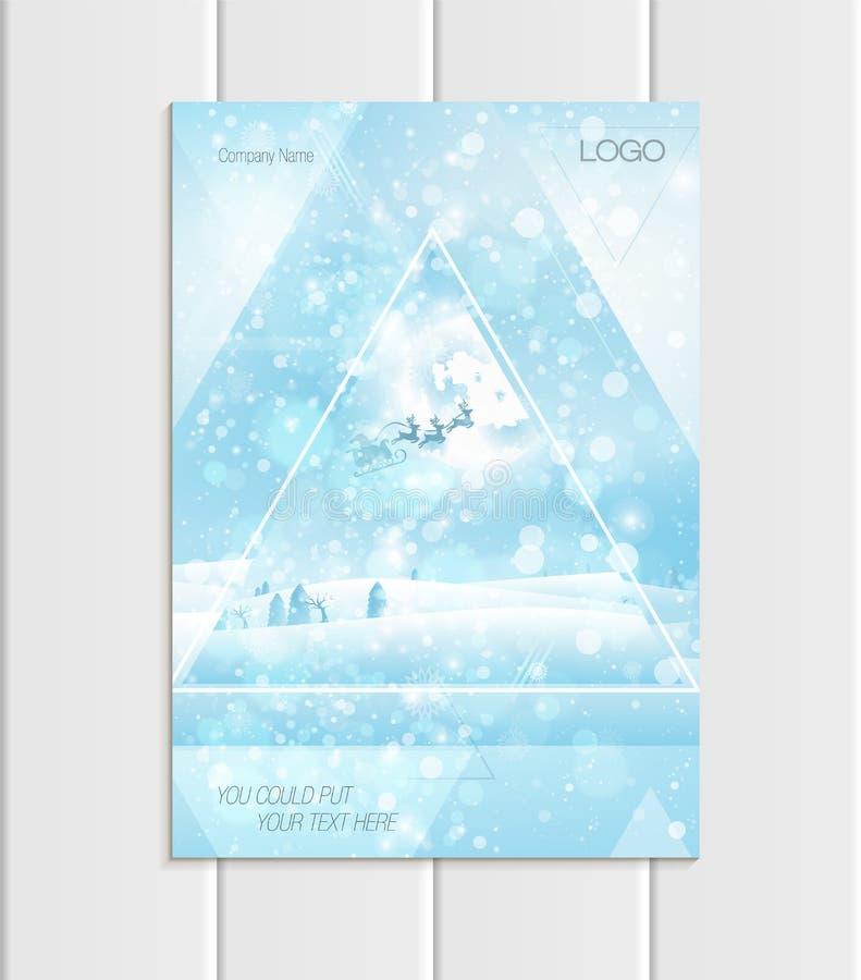 Design-Unternehmensart Santa Claus Christmas New Years 2018 Schattenbild Vector des Broschürenformats A5 oder A4 vektor abbildung