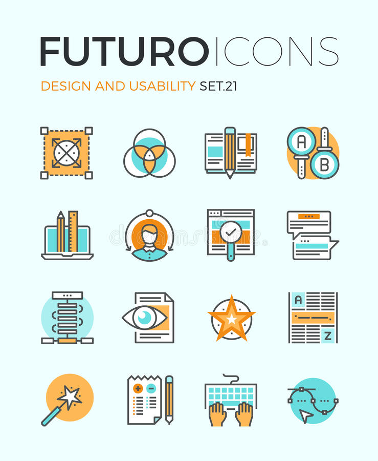 Design and usability futuro line icons. Line icons with flat design elements of graphic design and web product development, UI and UX website making, A/B testing royalty free illustration