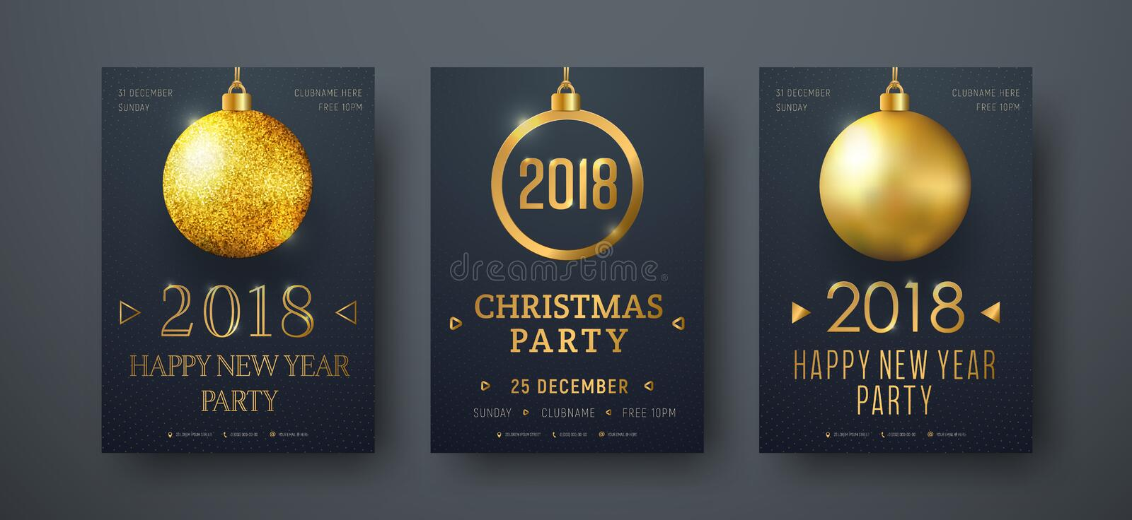 Design of vector black posters with golden christmas balls vector illustration