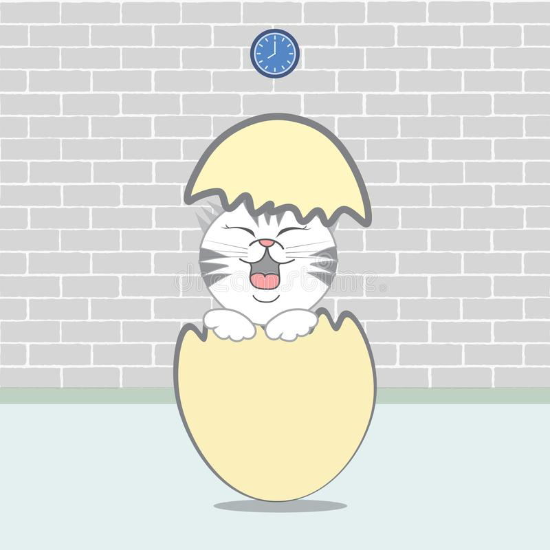 Design of vector easter, eggs with cute cat. stock illustration