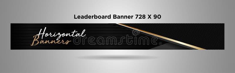 Design vector-01 för svart för Leaderboardbaner 728x90 guld- enkel vektor illustrationer