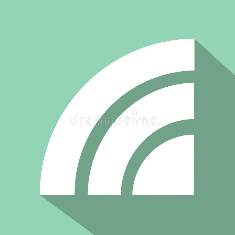 Wireless icon with flat design color green stock illustration