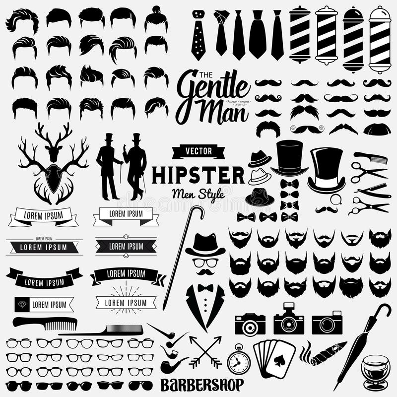 Collections set of Classic styled design hipster icons. Design a vector illustration of Hipsters signs and symbols templates for your design isolated on white stock illustration