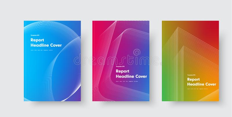 Design of vector minimalistic covers with gradient and geometric intersecting line shapes vector illustration