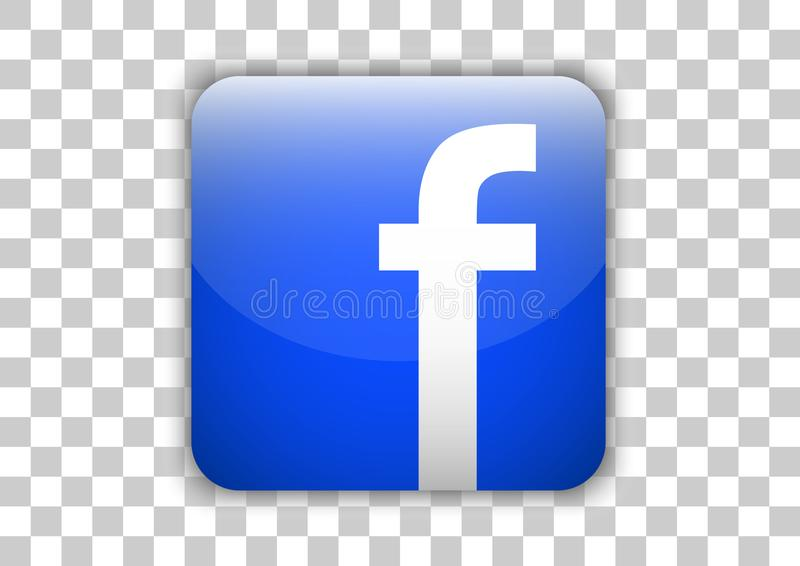 Facebook social media Icon button with symbol Inside royalty free illustration