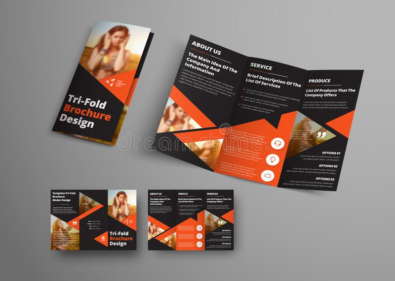 Design of a vector tri-fold brochure with orange triangular elem. Ents and place for a photo. Universal business template booklet for advertising and printing stock illustration