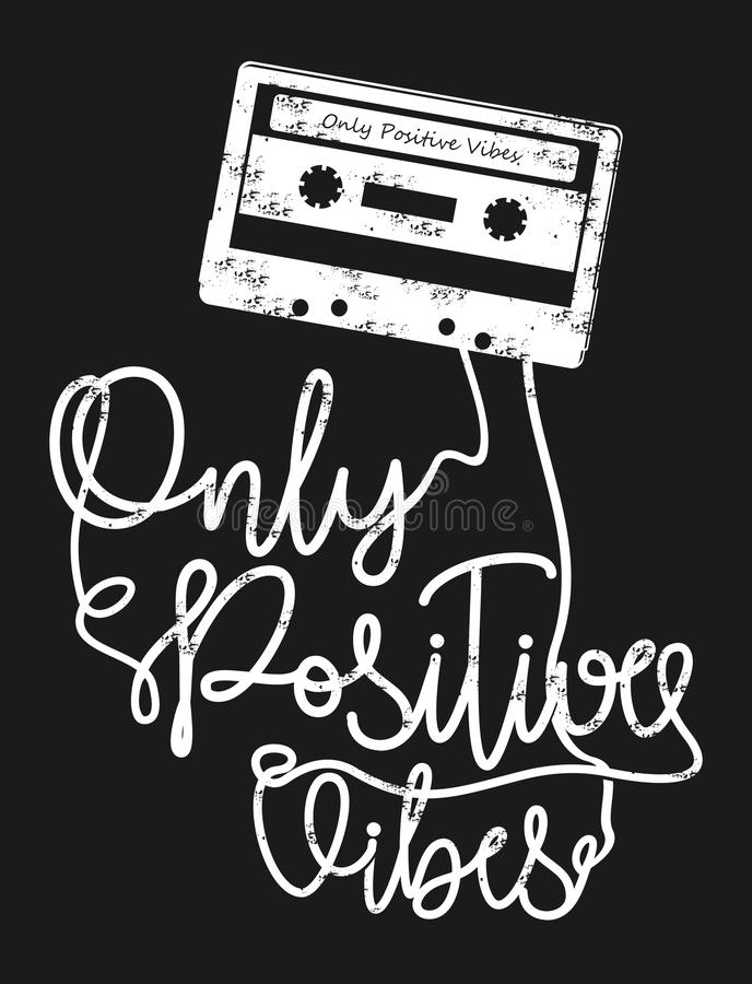 Vector typography only positive vibes royalty free illustration