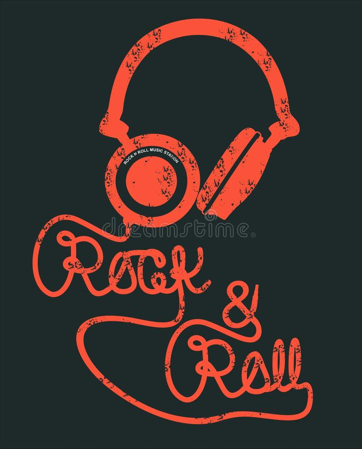 Vector typography headphone rock and roll royalty free illustration