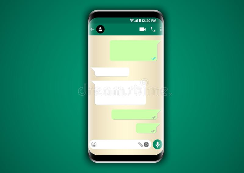 Whatsapp messenger chat user interface. Design vector of whatsapp mobile application template with phone frame to present user interface royalty free illustration
