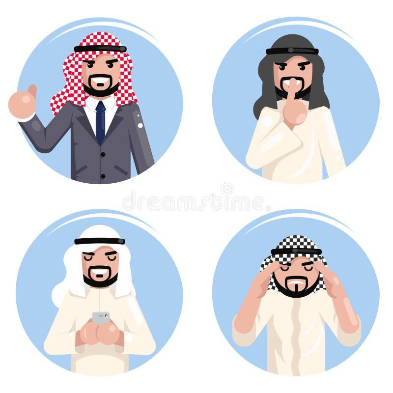 Design-Vektorillustration der gesetzten traditionellen nationalen moslemischen Kleidung der beschlussfassung des arabischen Gesch stock abbildung