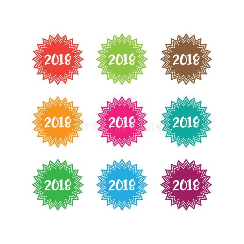 Design-Vektorillustration des guten Rutsch ins Neue Jahr 2018 auf weißem Hintergrund stock abbildung