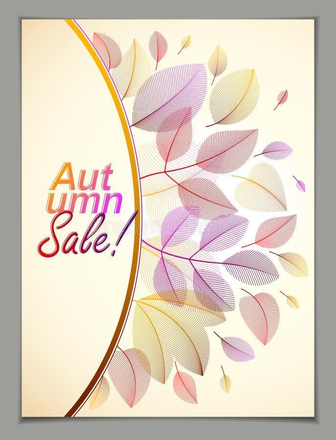 Design vertical banner with Autumn typing logo, fall red and yellow leaves frame composition background. Card for autumn. Season, promotion offer. Stylish royalty free illustration