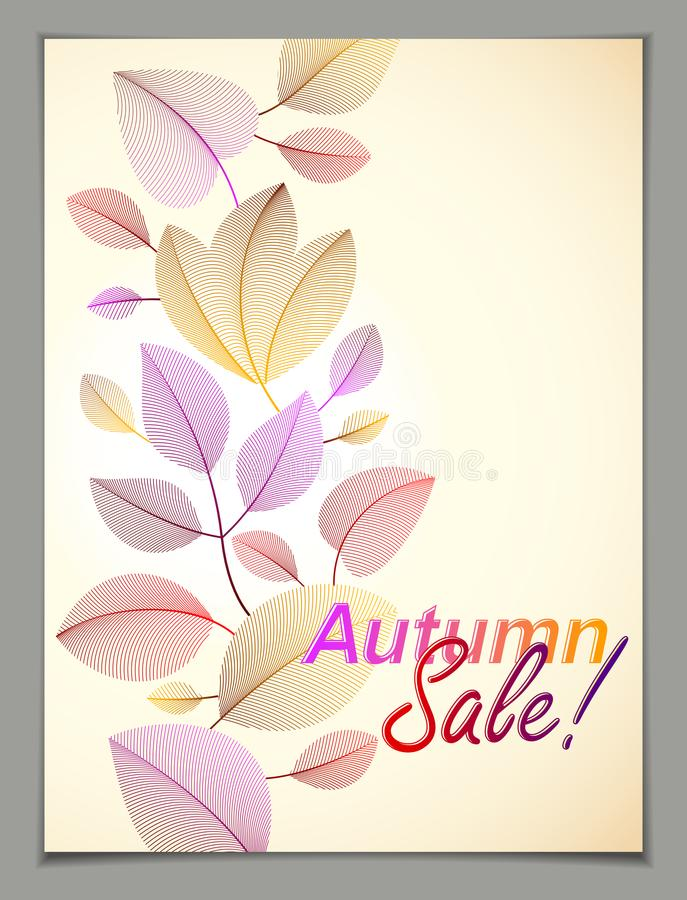 Design vertical banner with Autumn typing logo, fall red and yellow leaves frame composition background. Card for autumn. Season, promotion offer. Stylish vector illustration