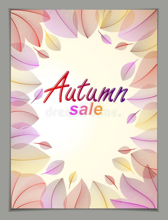 Design vertical banner with Autumn typing logo, fall red and yellow leaves frame composition background. Card for autumn. Season, promotion offer. Stylish stock illustration