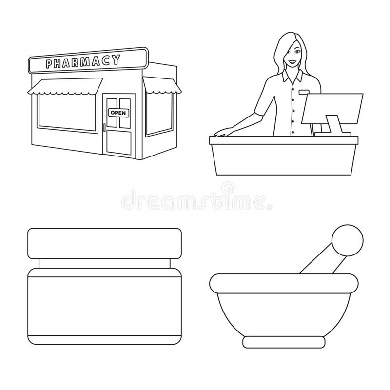 Design vetorial da farmácia e do símbolo farmacêutico Conjunto de ilustrações do vetor de farmácia e de vetor de estoque de saúde ilustração stock