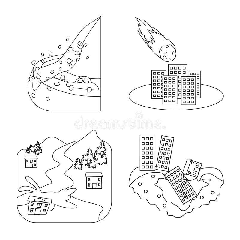 Design vetorial do cataclismo e ícone de desastre Conjunto de cataclismos e ícone do vetor apocalipse para estoque ilustração do vetor