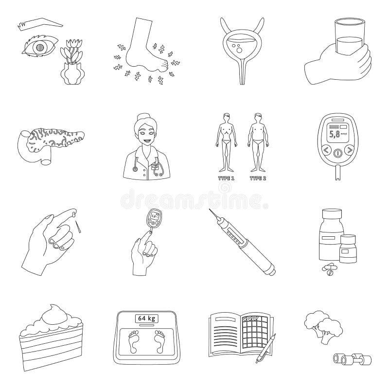Design vetorial do melito e sinal de diabetes Símbolo do conjunto de melito e de existências de dieta para a web ilustração stock