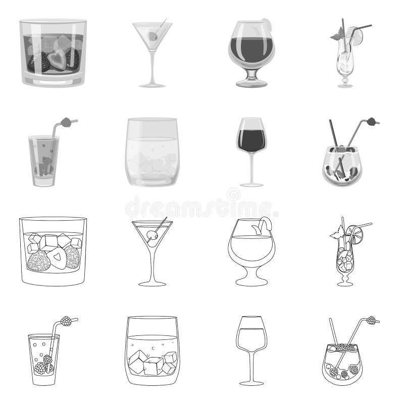 Design vetorial do símbolo de licor e restaurante Símbolo de licor e de matéria-prima para a web ilustração royalty free