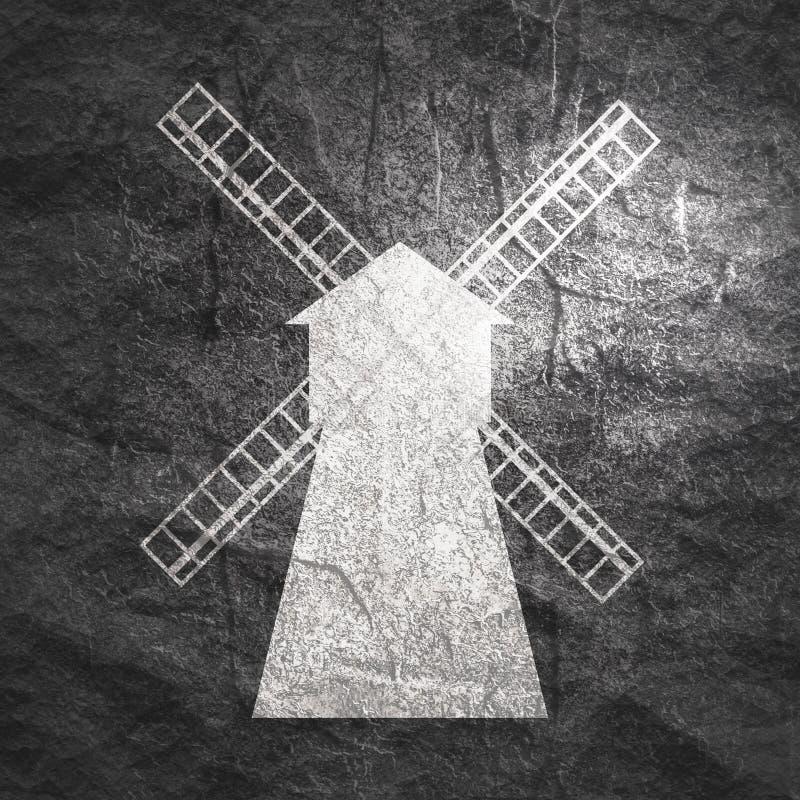 Vintage windmill emblem stock photos