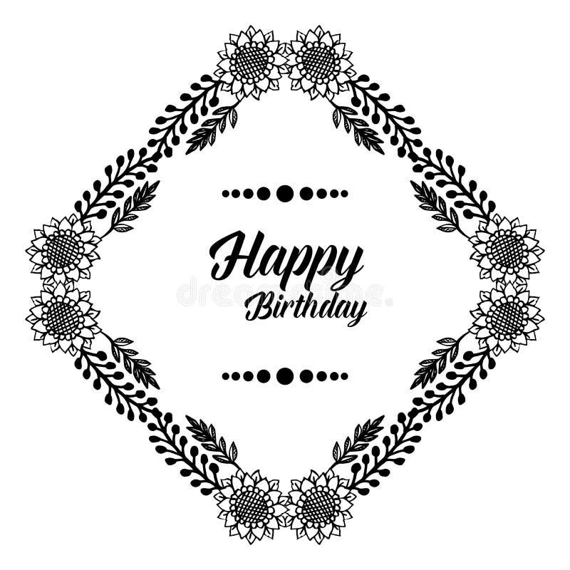Design wallpaper invitation card happy birthday, for various beautiful flower frame. Vector. Illustration vector illustration